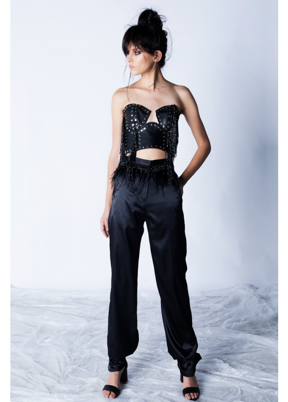 SILK SATIN WITH ANKLE BAND PANTS