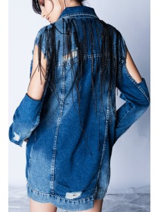 CROPPED SLEEVES DENIM JACKET
