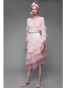 HUG ME IN MONACO ASYMMETRIC RUFFLES SILK DRESS