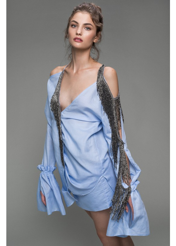 MARSEILLEZE SHIRT-DRESS WITH SILVER FRINGES