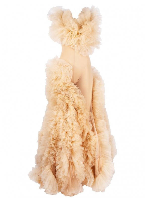 RUFFLE TULLE GOWN