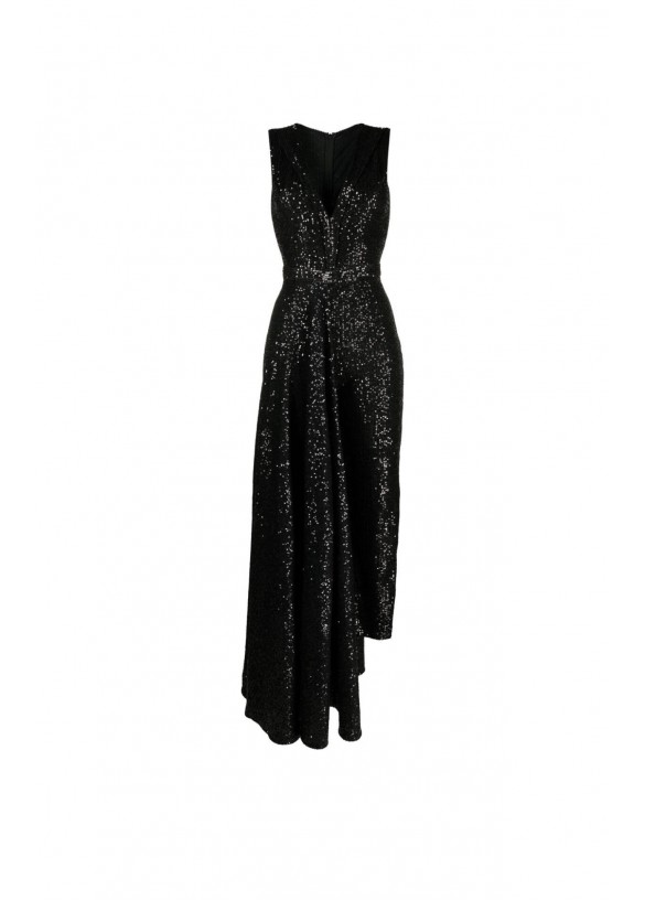 ASYMMETRIC SEQUINNED JUMPSUIT