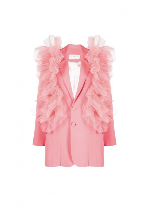 RUFFLED TULLE SINGLE-BREASTED BLAZER